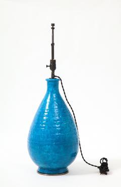 Large Blue Vintage Italian Ceramic Table Lamp circa 1960s - 1960961