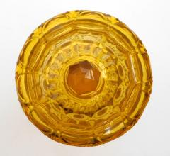 Large Bohemian Cut Crystal Amber colored Covered Jar - 1839860