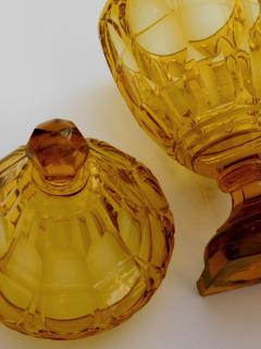 Large Bohemian Cut Crystal Amber colored Covered Jar - 1839862