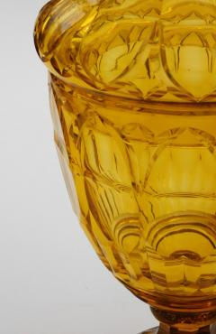 Large Bohemian Cut Crystal Amber colored Covered Jar - 1839865