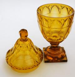 Large Bohemian Cut Crystal Amber colored Covered Jar - 1839866