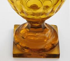 Large Bohemian Cut Crystal Amber colored Covered Jar - 1839868