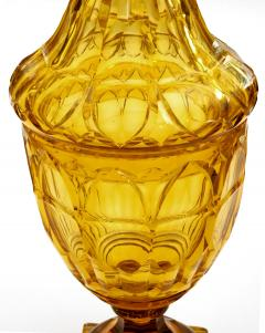 Large Bohemian Cut Crystal Amber colored Covered Jar - 1839870