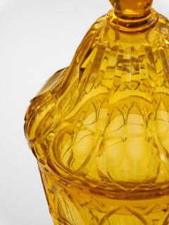 Large Bohemian Cut Crystal Amber colored Covered Jar - 1839871