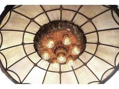 Large Bronze and Leaded Glass Seven Bulb Theatre Chandelier - 532002