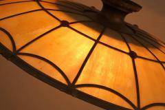 Large Bronze and Leaded Glass Seven Bulb Theatre Chandelier - 532004
