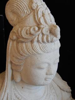Large Burmese Guan Yin Garden Stone Statue 1920s - 992236