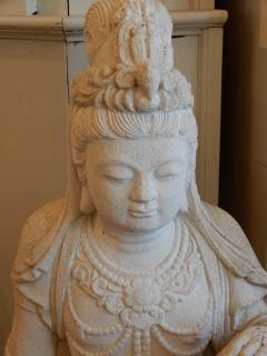 Large Burmese Guan Yin Garden Stone Statue 1920s - 992237