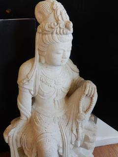 Large Burmese Guan Yin Garden Stone Statue 1920s - 992241