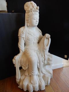 Large Burmese Guan Yin Garden Stone Statue 1920s - 992243