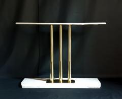 Large Carrara marble brass Mid Century Modern console table Italy - 1049793