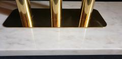 Large Carrara marble brass Mid Century Modern console table Italy - 1049808
