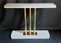 Large Carrara marble brass Mid Century Modern console table Italy - 1049813