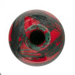 Large Ceramic Midcentury Bulbous Red Vase - 1089706
