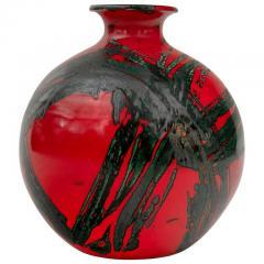 Large Ceramic Midcentury Bulbous Red Vase - 1089707