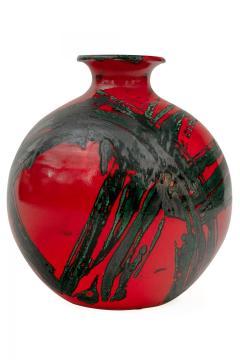 Large Ceramic Midcentury Bulbous Red Vase - 1089708