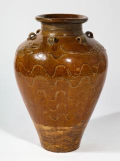 Large Chinese Martaban Ming Dynasty Stoneware Storage Vase with Dragons - 1566397