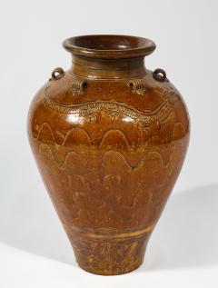Large Chinese Martaban Ming Dynasty Stoneware Storage Vase with Dragons - 1566398