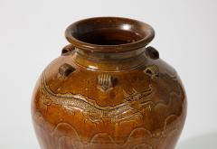 Large Chinese Martaban Ming Dynasty Stoneware Storage Vase with Dragons - 1566399