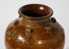 Large Chinese Martaban Ming Dynasty Stoneware Storage Vase with Dragons - 1566401