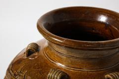 Large Chinese Martaban Ming Dynasty Stoneware Storage Vase with Dragons - 1566404