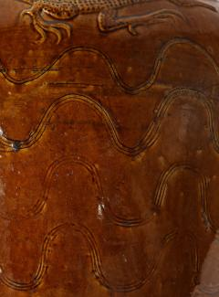 Large Chinese Martaban Ming Dynasty Stoneware Storage Vase with Dragons - 1566405