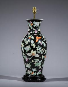 Large Chinese Vase Lamp Famille Noir with Butterfly Decoration - 1214894