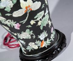 Large Chinese Vase Lamp Famille Noir with Butterfly Decoration - 1214897