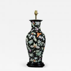 Large Chinese Vase Lamp Famille Noir with Butterfly Decoration - 1215312