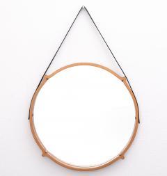 Large Circular Teak Italian Mirror With Leather Strap Hanger - 1486244