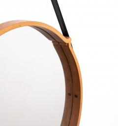 Large Circular Teak Italian Mirror With Leather Strap Hanger - 1486249