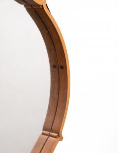 Large Circular Teak Italian Mirror With Leather Strap Hanger - 1486250