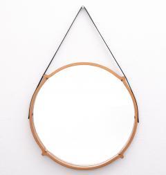 Large Circular Teak Italian Mirror With Leather Strap Hanger - 1486252