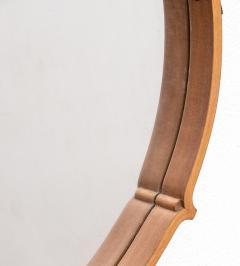Large Circular Teak Italian Mirror With Leather Strap Hanger - 1486253
