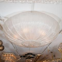 Large Circular Texture Fluted Glass Ceiling Fixture - 375933