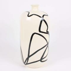 Large Contemporary Black and White Ceramic Vase with Nautical Motifs Contour - 1608110