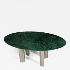 Large Dining Table with Green Marble Top and Chromed Metal Legs - 802313