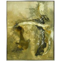 Large Earth Tone Oil and Gesso Relief Abstract by Hardy - 231769