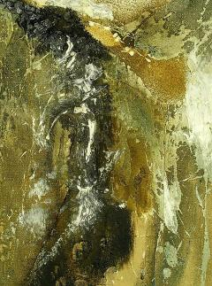 Large Earth Tone Oil and Gesso Relief Abstract by Hardy - 231771