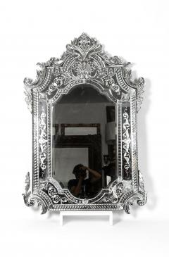 Large Etched Glass Framed Venetian Hanging Wall Mirror - 1037997