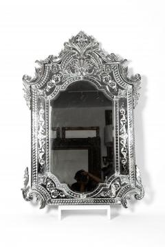 Large Etched Glass Framed Venetian Hanging Wall Mirror - 1037999