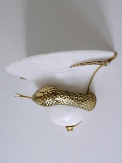 Large Exceptional Cast Brass Alabaster Snake Sconce or Wall Lamp Italy 1970s - 2055387