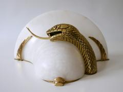 Large Exceptional Cast Brass Alabaster Snake Sconce or Wall Lamp Italy 1970s - 2055390