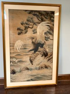 Large Framed Japanese Embroidery Tapestry - 1385519