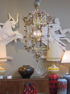 Large French Louis XVI Style Bronze Dor 4 light Lantern with Porcelain Flowers - 1370371