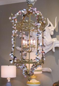 Large French Louis XVI Style Bronze Dor 4 light Lantern with Porcelain Flowers - 1370372
