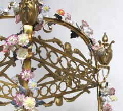 Large French Louis XVI Style Bronze Dor 4 light Lantern with Porcelain Flowers - 1370373