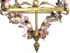 Large French Louis XVI Style Bronze Dor 4 light Lantern with Porcelain Flowers - 1370374
