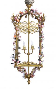 Large French Louis XVI Style Bronze Dor 4 light Lantern with Porcelain Flowers - 1370375
