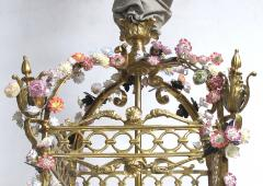 Large French Louis XVI Style Bronze Dor 4 light Lantern with Porcelain Flowers - 1370376